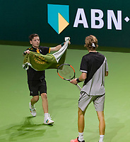 Rotterdam, The Netherlands, 16 Februari, 2018, ABNAMRO World Tennis Tournament, Ahoy, Andrey Rublev (RUS) gets a zowel from a ballboy<br /> <br /> Photo: www.tennisimages.com