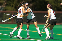 STANFORD, CA - SEPTEMBER 6: Hope Burke, Katherine Swank and Katie Mitchell celebrate a goal against Michigan State on September 6, 2010 in Stanford, California.