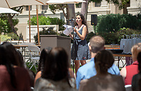Student speaker Claudia Lechner '19. Graduating seniors, family, faculty, staff and alums gather for the Lavender Graduation Celebration, in the Academic Quad on Friday, May 17, 2019.<br />