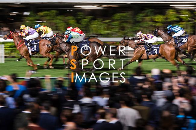 Jockeys riding their horses during Hong Kong Racing at Happy Valley Race Course on December 06, 2017 in Hong Kong, Hong Kong. Photo by Marcio Rodrigo Machado / Power Sport Images