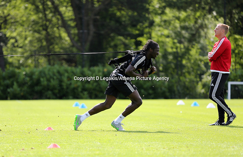 Thursday 09 July 2015<br /> Pictured: Eder on the Run Rocket<br /> Re: Swansea City FC pre-season training at Landore training ground, Swansea, south Wales, UK.