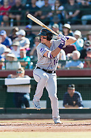Salt River Rafters right fielder Sam Hilliard (14), of the Colorado Rockies organization, at bat during the Arizona Fall League Championship Game against the Peoria Javelinas at Scottsdale Stadium on November 17, 2018 in Scottsdale, Arizona. Peoria defeated Salt River 3-2 in 10 innings. (Zachary Lucy/Four Seam Images)
