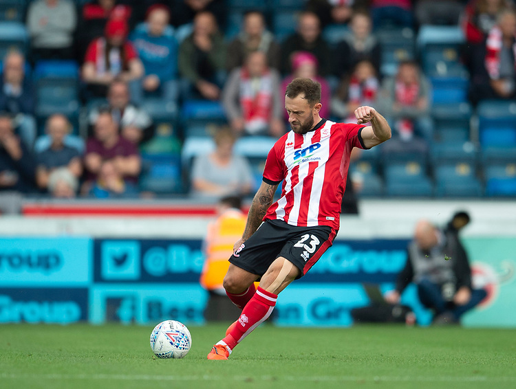 Lincoln City's Neal Eardley<br /> <br /> Photographer Andrew Vaughan/CameraSport<br /> <br /> The EFL Sky Bet League One - Wycombe Wanderers v Lincoln City - Saturday 7th September 2019 - Adams Park - Wycombe<br /> <br /> World Copyright © 2019 CameraSport. All rights reserved. 43 Linden Ave. Countesthorpe. Leicester. England. LE8 5PG - Tel: +44 (0) 116 277 4147 - admin@camerasport.com - www.camerasport.com