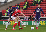 John Lundstram of Sheffield Utd  tackles Brad Potts of Barnsley during the championship match at the Oakwell Stadium, Barnsley. Picture date 7th April 2018. Picture credit should read: Simon Bellis/Sportimage