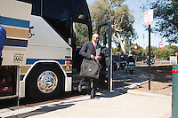 Stanford - September 13, 2014: David Shaw, head coach, and football team arrive before the Stanford vs Army football game Saturday afternoon at Stanford Stadium.<br /> <br /> Stanford won 35-0.