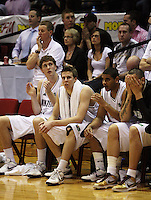 The Tall Blacks bench, from left, Rob Loe, Tom Abercrombie, Corey Webster and Leon Henry look tense early in the match during the International basketball match between the NZ Tall Blacks and Australian Boomers at TSB Bank Arena, Wellington, New Zealand on 25 August 2009. Photo: Dave Lintott / lintottphoto.co.nz