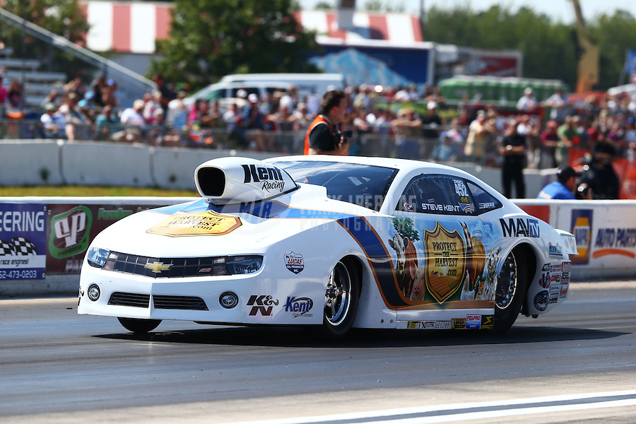 Aug. 17, 2013; Brainerd, MN, USA: NHRA pro stock driver Steve Kent during qualifying for the Lucas Oil Nationals at Brainerd International Raceway. Mandatory Credit: Mark J. Rebilas-