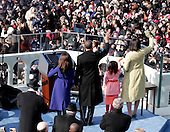 Washington, DC - January 20, 2009 -- United States President Barack Obama and his family wave to the crowd after he took the oath of office as the 44th President of the United States in Washington, DC, USA, 20 January 2009. Obama defeated Republican candidate John McCain on Election Day 04 November 2008 to become the next U.S. President.Credit: Dexter Powell - CNP