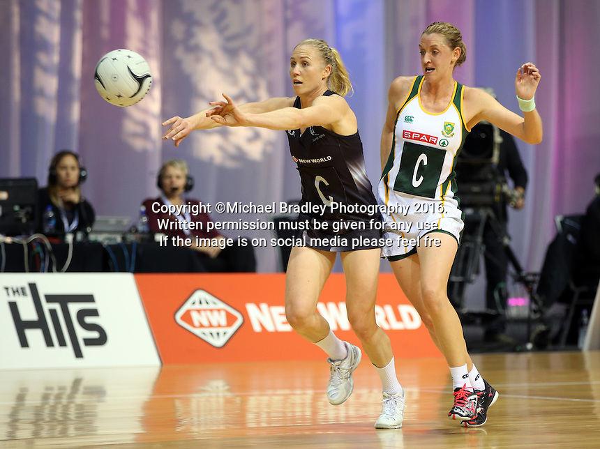 31.08.2016 Silver Ferns Laura Langman and South Africa's Erin Burger in action during the Netball Quad Series match between the Silver Ferns and South Africa played at Claudelands Arena in Hamilton. Mandatory Photo Credit ©Michael Bradley.