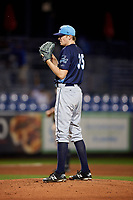 Charlotte Stone Crabs starting pitcher J.D. Busfield (35) gets ready to deliver a pitch during the second game of a doubleheader against the St. Lucie Mets on April 24, 2018 at First Data Field in Port St. Lucie, Florida.  St. Lucie defeated Charlotte 5-3.  (Mike Janes/Four Seam Images)