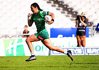 Manawatu's Sarah Goss sets up the winning try during the women's cup final against Waikato. Day two of the 2018 Bayleys National Sevens at Rotorua International Stadium in Rotorua, New Zealand on Sunday, 14 January 2018. Photo: Dave Lintott / lintottphoto.co.nz