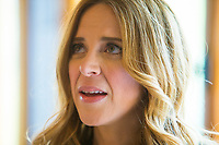 Julie Snyder, fiance of PQ leader Pierre-Karl Peladeau, is seen at a political event for the Chauveau by-election in Wendake, just North of Quebec City, June 3, 2015.<br /> <br /> PHOTO :  Francis Vachon - Agence Quebec Presse