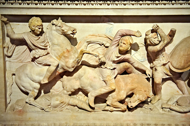 Greek relief sculptures on Alexander The Great ( Alexander III of Macedon ) 4th Cent BC. Sarcophagus calved from Pentelic Marble from the Royal Necropolis of Sidon, Chamber no.III, Lebanon. Istanbul Archaeological Museum Inv. 370T Cat. Mendel 68