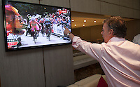 BOGOTA, Colombia. 31 May 2014. The President of Colombia and candidate, Juan Manuel Santos looks at the Giro d'Italia on television supporting Nairo Quintana, on his arrival to meet with Councillors in Cali. Photo by SANTOS Campaign/Eliana Aponte / VIEWpress TO EDITORS : THIS PICTURE WAS PROVIDED BY A THIRD PARTY.  THIS PICTURE IS DISTRIBUTED EXACTLY AS RECEIVED BY VIEWpress, AS A SERVICE TO CLIENTS