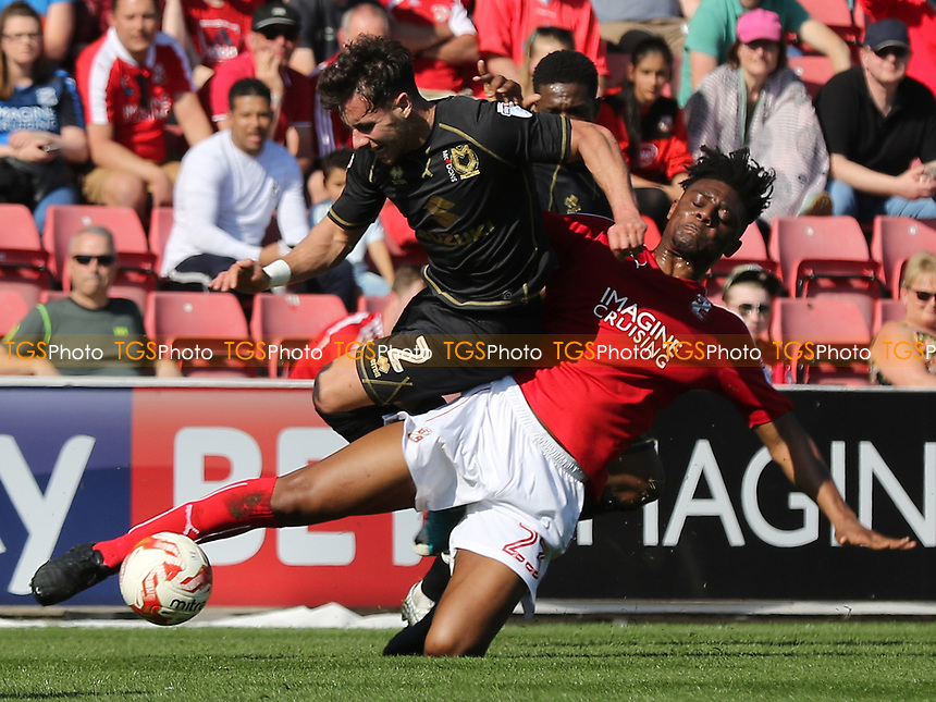 George Baldock of MK Dons is fouled by Swindon's Rohan Ince during Swindon Town vs MK Dons, Sky Bet EFL League 1 Football at the County Ground on 8th April 2017