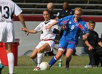 USA's Heather Mitts battles Iceland's Margret Lara Vidarsdottir. The USA defeated Iceland 2-1 at Univ. of Richmond Stadium in Richmond, Virginia on Sunday, October 8, 2006.