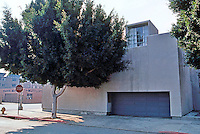 "Frank Gehry: Danziger Studio, 1965. 7001 Melrose at Sycamore. ""minimal architecture at its best"" --now obscured by trees.  Photo '86."