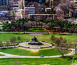 Aerial view of the Iowa Jima memorial and Rosslyn, Virginia