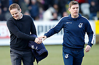 AFC Wimbledon manager, Neal Ardley and Bristol Rovers manager, Darrell Clarke shake hands  during the Sky Bet League 1 match between AFC Wimbledon and Bristol Rovers at the Cherry Red Records Stadium, Kingston, England on 17 February 2018. Photo by Carlton Myrie.