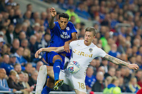 Nathaniel Mendez-Laing of Cardiff City tries to get around Pontus Jansson of Leeds United during the Sky Bet Championship match between Cardiff City and Leeds United at the Cardiff City Stadium, Cardiff, Wales on 26 September 2017. Photo by Mark  Hawkins / PRiME Media Images.