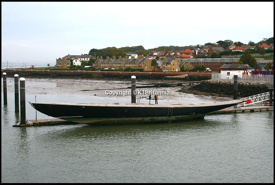 BNPS.co.uk (01202 558833)<br /> Pic: K1Britannia/BNPS<br /> <br /> ***Please Use Full Byline***<br /> <br /> The Britannia in the water at Hythe. <br /> <br /> An 8 million pounds appeal has been launched to resurrect one of the most famous and best loved racing yachts of all time - the 'King's yacht' Britannia.<br /> <br /> The historic 177ft yacht was built for playboy prince Albert in 1893 and became an instant star of the sailing scene, winning 33 of 43 prestigious races  in her first year alone.<br /> <br /> The stunning Royal yacht became known the world over and enjoyed an illustrious racing career at the hands of Albert, who went on to become King Edward VII.<br /> <br /> Edward's son George V continued the love affair with Britannia, dubbed 'the King's yacht', so much so that on his death in 1936 she was deliberately sunk off the Isle of Wight.<br /> <br /> Now, 78 years on, campaigners are nearing the final stages of a project to complete an an inch-perfect replica of Britannia which has been 20 years in the making.<br /> <br /> The instantly recognisable hull is finished but around six million pounds is needed to transform it into a yacht worthy of Royalty. <br /> <br /> The yacht, which will cost an extra one million pounds a year to run, will then be taken all round the world so it can be enjoyed by charities and future generations.