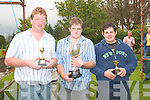 Sheaf Throwing.--------------.Adrain Brennan(centre)with the perpetual trophy after winning this years Sheaf Throwing contest at the cahersiveen celtic music and arts festival last sunday evening,wiyh him were Padraig Fogerty(left)2nd and Jer Egan 3rd place.   Copyright Kerry's Eye 2008