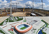17.07.2015. Saraansk, Russia. A model of the future soccer stadium has been set up at its construction site in Saransk, Russia, 17 July 2015. The stadium will serve as one of the venues for the 2018 FIFA World Cup.