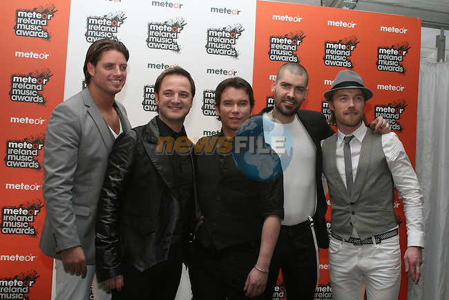 Boyzone at the 2008 Meteor Music Awards at the RDS, Simmonscourt...Photo NEWSFILE/Jenny Matthews.(Photo credit should read Jenny Matthews/NEWSFILE)....This Picture has been sent you under the condtions enclosed by:.Newsfile Ltd..The Studio,.Millmount Abbey,.Drogheda,.Co Meath..Ireland..Tel: +353(0)41-9871240.Fax: +353(0)41-9871260.GSM: +353(0)86-2500958.email: pictures@newsfile.ie.www.newsfile.ie.FTP: 193.120.102.198.