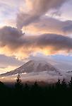 Dramatic clouds illuminated by sunset, Mt. Rainer National Park, Washington, USA