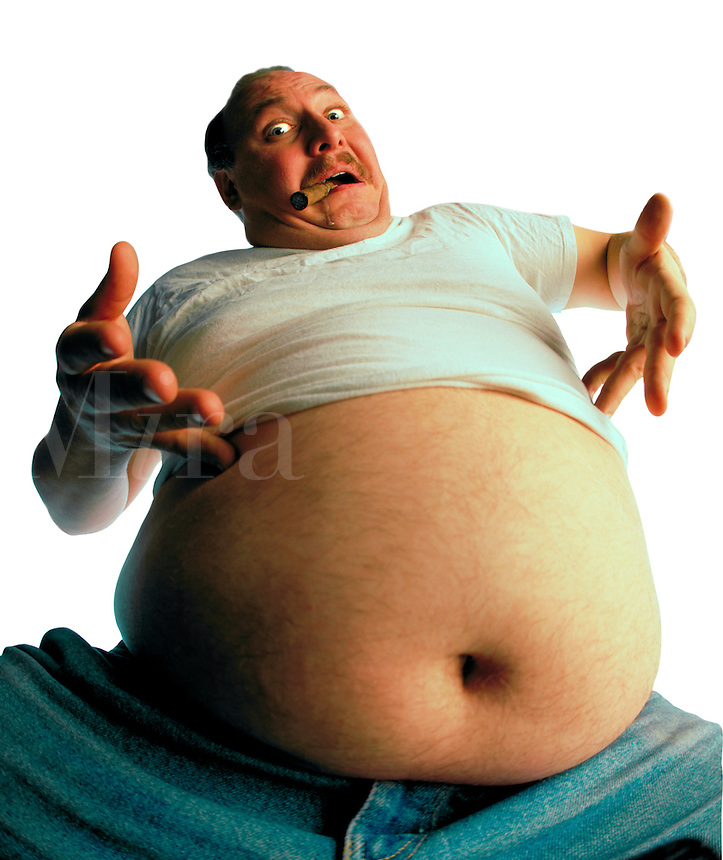 Man with a big belly . broadcast must be negotiated, due to talent agreement.