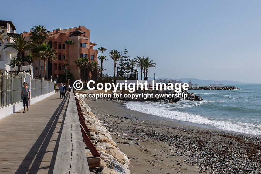 The coastal boardwalk is a very pleasant stroll between San Pedro de Alcantara and Puerto Banus. There&rsquo;s lot of restaurants, caf&eacute;s and bars along the way for refreshment. 23rd April 2017. 201704233501<br /> <br /> Copyright Image from Victor Patterson, 54 Dorchester Park, <br /> Belfast, UK, BT9 6RJ<br /> <br /> t1: +44 28 9066 1296 (from Rep of Ireland 048 9066 1296)<br /> t2: +44 28 9002 2446 (from Rep of Ireland 048 9002 2446)<br /> m: +44 7802 353836<br /> <br /> e1: victorpatterson@me.com<br /> e2: victorpatterson@gmail.com<br /> <br /> www.victorpatterson.com<br /> <br /> Please see my Terms and Conditions of Use at www.victorpatterson.com. It is IMPORTANT that you familiarise yourself with them.<br /> <br /> Images used on the Internet must be visibly watermarked i.e. &copy; Victor Patterson within the body of the image and copyright metadata must not be deleted. Images used on the Internet have a size restriction of 4kbs and will be chargeable at current NUJ rates unless agreed otherwise.<br /> <br /> This image is only available for the use of the download recipient i.e. television station, newspaper, magazine, book publisher, etc, and must not be passed on to any third party. It is also downloaded on condition that each and every usage is notified within 7 days to victorpatterson@me.com<br /> <br /> The right of Victor Patterson to be identified as the author is asserted in accordance with The Copyright Designs And Patents Act (1988).