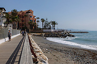 The coastal boardwalk is a very pleasant stroll between San Pedro de Alcantara and Puerto Banus. There's lot of restaurants, cafés and bars along the way for refreshment. 23rd April 2017. 201704233501<br /> <br /> Copyright Image from Victor Patterson, 54 Dorchester Park, <br /> Belfast, UK, BT9 6RJ<br /> <br /> t1: +44 28 9066 1296 (from Rep of Ireland 048 9066 1296)<br /> t2: +44 28 9002 2446 (from Rep of Ireland 048 9002 2446)<br /> m: +44 7802 353836<br /> <br /> e1: victorpatterson@me.com<br /> e2: victorpatterson@gmail.com<br /> <br /> www.victorpatterson.com<br /> <br /> Please see my Terms and Conditions of Use at www.victorpatterson.com. It is IMPORTANT that you familiarise yourself with them.<br /> <br /> Images used on the Internet must be visibly watermarked i.e. © Victor Patterson within the body of the image and copyright metadata must not be deleted. Images used on the Internet have a size restriction of 4kbs and will be chargeable at current NUJ rates unless agreed otherwise.<br /> <br /> This image is only available for the use of the download recipient i.e. television station, newspaper, magazine, book publisher, etc, and must not be passed on to any third party. It is also downloaded on condition that each and every usage is notified within 7 days to victorpatterson@me.com<br /> <br /> The right of Victor Patterson to be identified as the author is asserted in accordance with The Copyright Designs And Patents Act (1988).