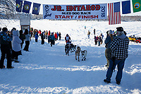Colby Spears crosses the finish of the 2018 Junior Iditarod in Willow, Alaska. Sunday February 25, 2018<br /> <br /> Photo by Jeff Schultz/SchultzPhoto.com  (C) 2018  ALL RIGHTS RESERVED