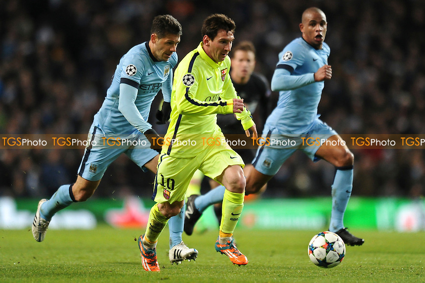 Lionel Messi of Barcelona goes on the attack - Manchester City vs Barcelona - UEFA Champions League Round of 16 1st Leg Football at the Etihad Stadium, Greater Manchester - 24/02/15 - MANDATORY CREDIT: Greig Bertram/TGSPHOTO - Self billing applies where appropriate - contact@tgsphoto.co.uk - NO UNPAID USE