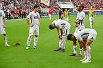 14.04.2018, BayArena, Leverkusen , GER, 1.FBL., Bayer 04 Leverkusen vs. Eintracht Frankfurt<br /> im Bild / picture shows: <br /> die Frankfurter verabschieden sich v&ouml;llig fertig von den Fans Simon Falette (Frankfurt #3),  <br /> Jetro Willems (Frankfurt #15),  <br /> <br /> <br /> Foto &copy; nordphoto / Meuter