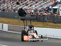 Aug. 3, 2013; Kent, WA, USA: NHRA top fuel dragster driver Clay Millican during qualifying for the Northwest Nationals at Pacific Raceways. Mandatory Credit: Mark J. Rebilas-USA TODAY Sports