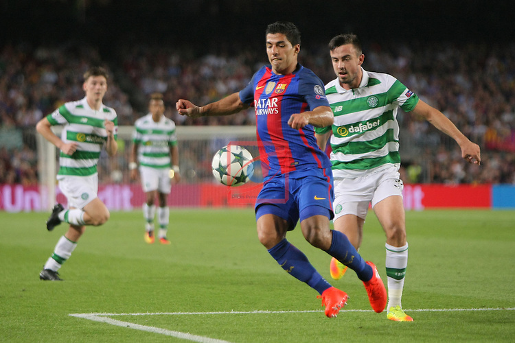 UEFA Champions League 2016/2017 - Matchday 1.<br /> FC Barcelona vs Celtic FC: 7-0.<br /> Luis Suarez vs Eoghan O'Connell.