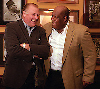 Willie Davis gives Jerry Kramer an earful as he mimics Vince Lombardi's coaching style at the Lombardi Legends Reunion at Lombardi's Steakhouse in Appleton, Wisconsin in September of 2001.