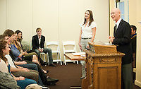 Jim Whitney, Economics and Sarah Kushner. The newest members of the Delta of California Chapter of Phi Beta Kappa are accepted in a ceremony in Morrison Lounge, Occidental College, Los Angeles, Calif., February 9, 2011. The new members are Kelsey Newport, Leandra Lehmann, Alison Caditz, Thomas Stringer, Elise Burger, Ben Burnett, Sarah Kushner and Joseph Mohorcich and were elected on the basis of academic excellence. (Photo by Marc Campos, Occidental College Photographer)