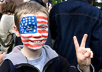 A young German fan supports the USA during training in Hamburg, Germany, for the 2006 World Cup, June, 6, 2006.