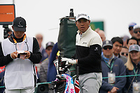 Hideki Matsuyama (JPN) on the 9th tee during the 3rd round of the US Open Championship, Pebel Beach Golf Links, Monterrey, Calafornia, USA. 15/06/2019.<br /> Picture Fran Caffrey / Golffile.ie<br /> <br /> All photo usage must carry mandatory copyright credit (© Golffile | Fran Caffrey)