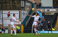 Max Muller of Wycombe Wanderers out jumps Josh Lelan of Crawley Town during the Sky Bet League 2 match between Wycombe Wanderers and Crawley Town at Adams Park, High Wycombe, England on 25 February 2017. Photo by Andy Rowland / PRiME Media Images.