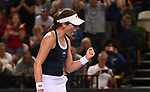 Johanna Konta (Great Britain) celebrates. Rubber 1. Great Britain v Kazakhstan. World group II play off in the BNP Paribas Fed Cup. Copper Box arena. Queen Elizabeth Olympic Park. Stratford. London. UK. 20/04/2019. ~ MANDATORY Credit Garry Bowden/Sportinpictures - NO UNAUTHORISED USE - 07837 394578