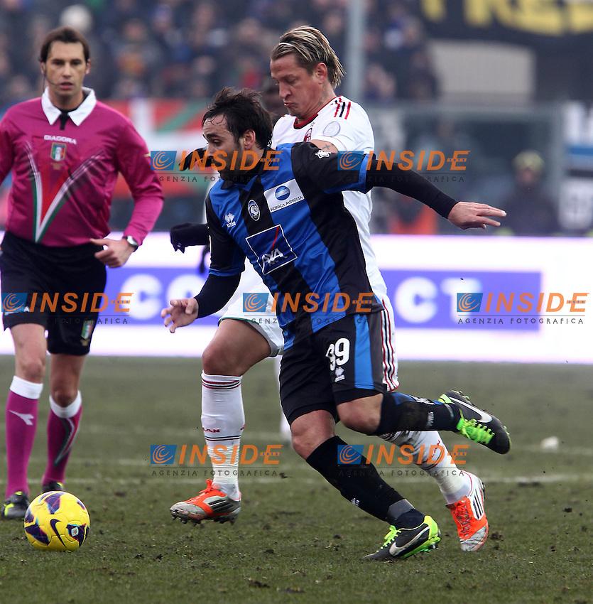 "Facundo Parra Atalanta Philippe Mexes Milan.Bergamo 27/01/2013 Stadio ""Atleti Azzurri d'Italia"".Football Calcio Serie A 2012/13.Atalanta vs Milan.Foto Insidefoto Paolo Nucci."