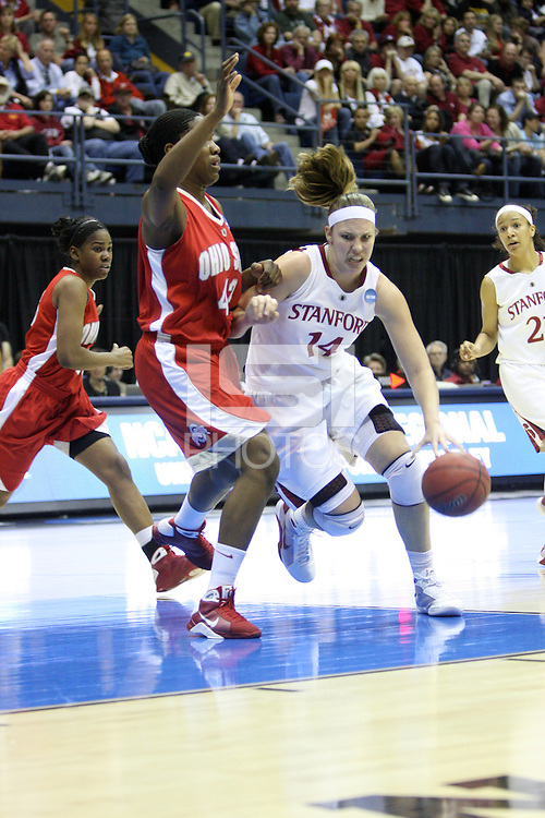 BERKELEY, CA - MARCH 30: Kayla Pedersen drives in the lane during Stanford's 84-66 win against the Ohio State Buckeyes on March 28, 2009 at Haas Pavilion in Berkeley, California.