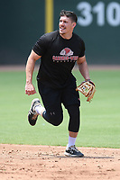 Cardinals minor leaguer Chandler Redmond works out with other Major League and Minor League players from around the region on Tuesday, June 2, 2020, at Fluor Field at the West End in Greenville, South Carolina. Team workouts have been shut down during the coronavirus pandemic, so this group began working out in what they call game situation simulations a couple of days a week. (Tom Priddy/Four Seam Images)