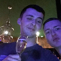 Pictured: Trystan Roberts (L), image found in open social media page<br /> Re: Off-duty firefighters fought to save a fire service apprentice after a two-vehicle crash in Snowdonia, an inquest has heard.<br /> Trystan Rhun Roberts, 19, died on the A5 at Capel Curig on 17 May, 2016.<br /> Mr Roberts, from Cynwyd, near Corwen, Denbighshire, was an apprentice fleet technician with the North Wales Fire and Rescue Service.<br /> Assistant coroner Nicola Jones recorded a conclusion of death as a result of a road traffic collision.<br /> Mountaineering guide Robert Spencer told the inquest in Ruthin how Mr Roberts' Seat Leon overtook him at around 60mph as he drove along the A5 near the Siabod Cafe.