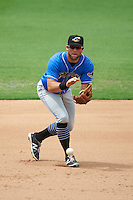 Akron RubberDucks third baseman Joe Sever (9) fields a ground ball during the first game of a doubleheader against the Bowie Baysox on June 5, 2016 at Prince George's Stadium in Bowie, Maryland.  Bowie defeated Akron 6-0.  (Mike Janes/Four Seam Images)