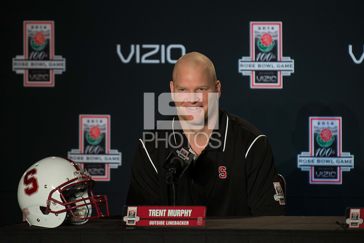 LOS ANGELES, CA  - The Stanford Cardinal defense fields questions from the media as it prepares for the 100th Rose Bowl Game in Pasadena.