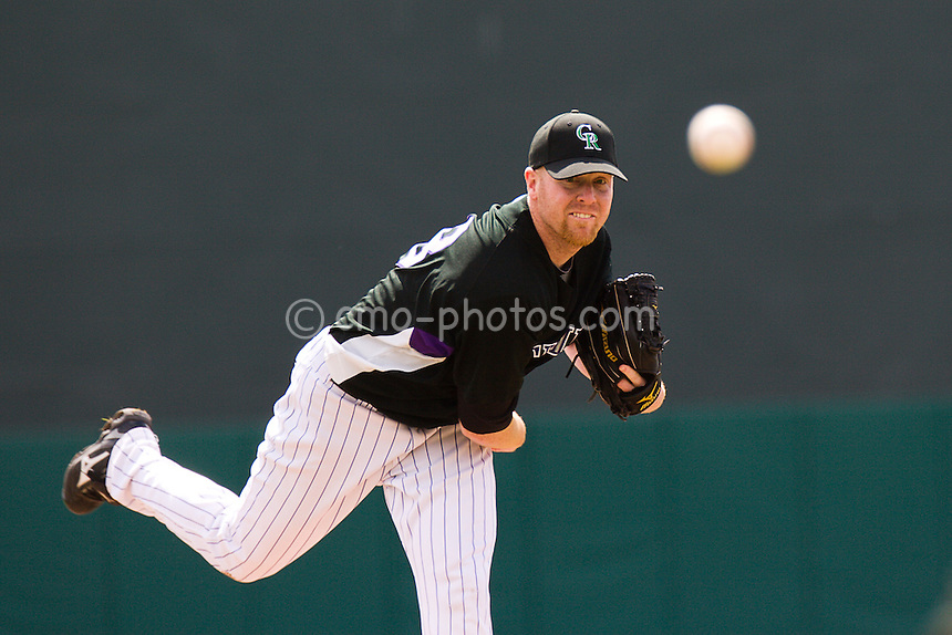 Mar 17, 2008; Tucson, AZ, USA; Colorado Rockies pitcher Aaron Cook (28) throws a pitch during a game against the San Francisco Giants at Hi Corbett Field.